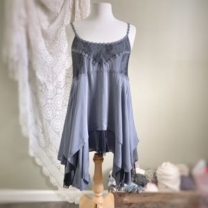 FREE PEOPLE | Intimately Blue Lace Boho Slip Dress